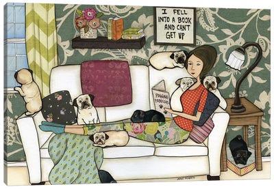 The Pug Book Canvas Art Print