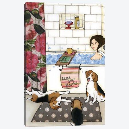 Wash Your Beagles Canvas Print #MRH107} by Jamie Morath Canvas Wall Art