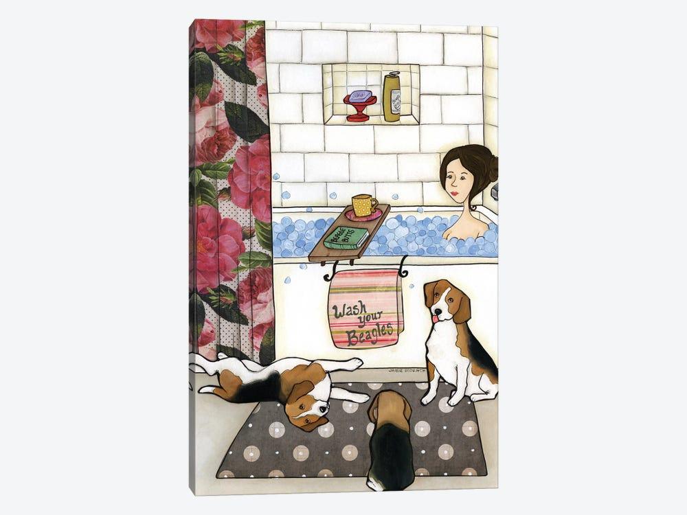 Wash Your Beagles by Jamie Morath 1-piece Canvas Artwork