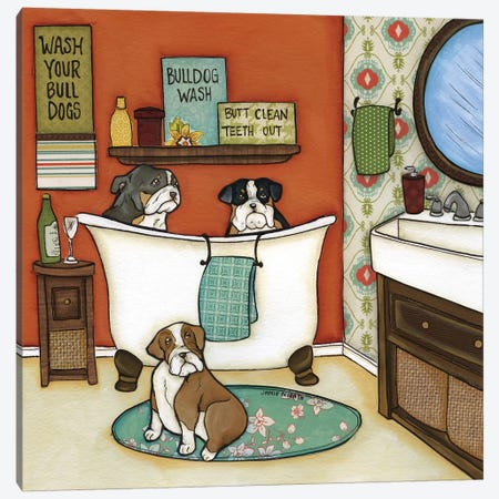Wash Your Bulldogs Canvas Print #MRH108} by Jamie Morath Canvas Art Print