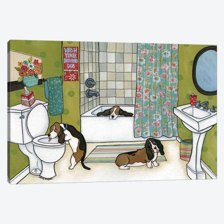 Wash Your Houndog Canvas Print #MRH109} by Jamie Morath Canvas Art Print