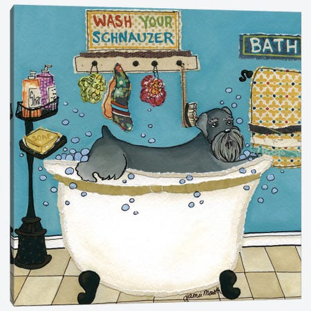 Wash Your Schnauzer Canvas Print #MRH111} by Jamie Morath Canvas Artwork