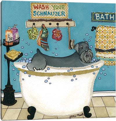 Wash Your Schnauzer Canvas Art Print