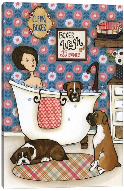Boxer Wash Canvas Art Print