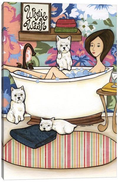 Westie Wash Canvas Art Print