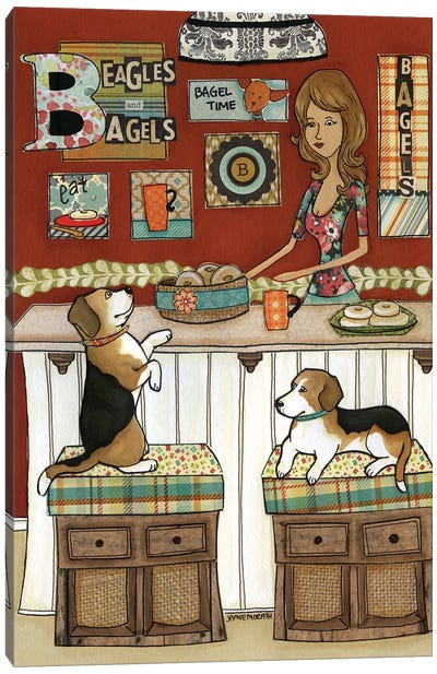 Beagles and Bagels Canvas Art Print