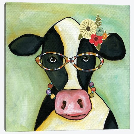 Cow Janice 3-Piece Canvas #MRH137} by Jamie Morath Art Print