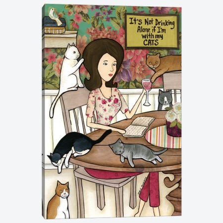 With My Cats Canvas Print #MRH177} by Jamie Morath Canvas Print