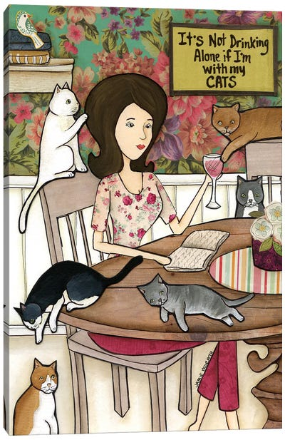 With My Cats Canvas Art Print