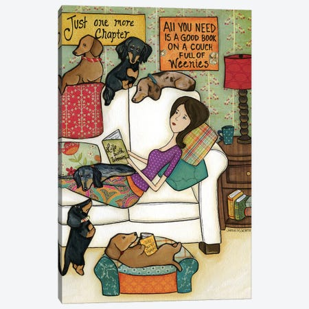 Books and Weenies Canvas Print #MRH17} by Jamie Morath Canvas Wall Art