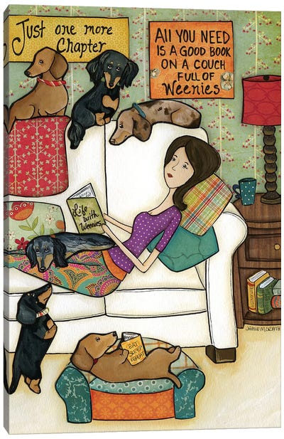 Books and Weenies Canvas Art Print