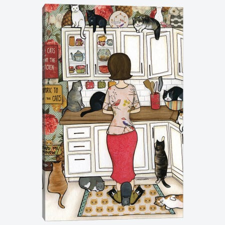 Feed The Cats Canvas Print #MRH186} by Jamie Morath Canvas Art