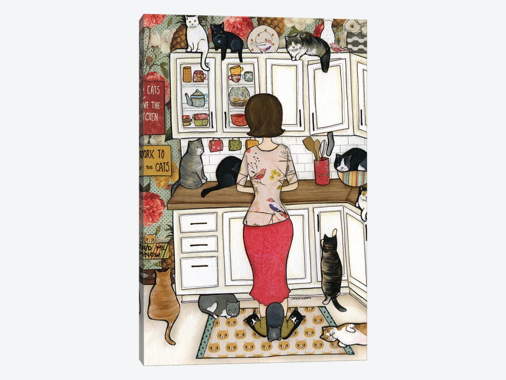 Feed The Cats by Jamie Morath 1-piece Canvas Art Print