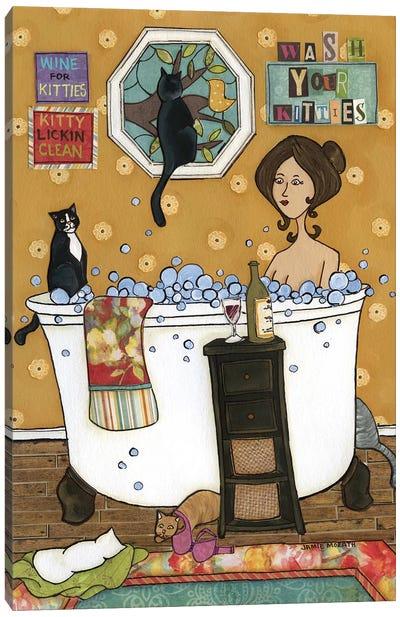 Wash Your Kitties Canvas Art Print