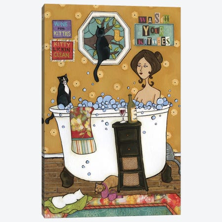Wash Your Kitties Canvas Print #MRH190} by Jamie Morath Canvas Artwork