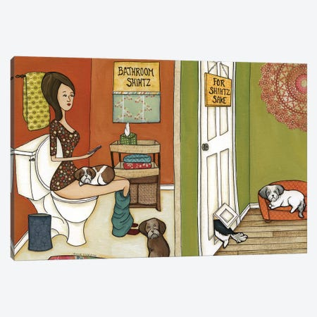 Bathroom Shihtz Canvas Print #MRH215} by Jamie Morath Canvas Artwork