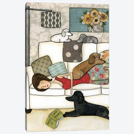 Passed Out With Poodles Canvas Print #MRH225} by Jamie Morath Canvas Art Print