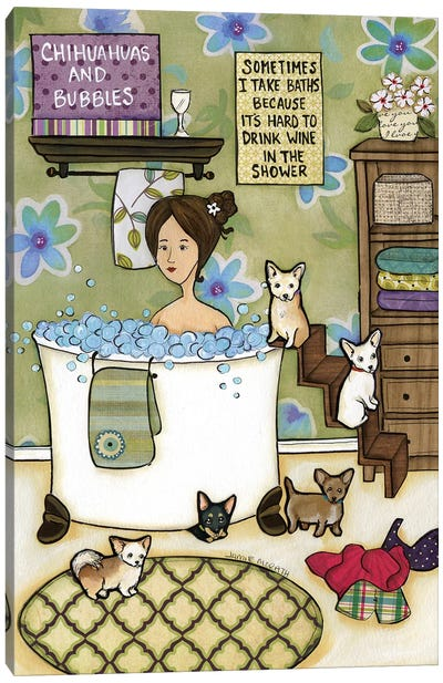Chihuahua's Bubbles Canvas Art Print