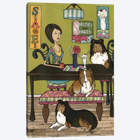 Shelties And Shakes Canvas Print #MRH283} by Jamie Morath Canvas Artwork
