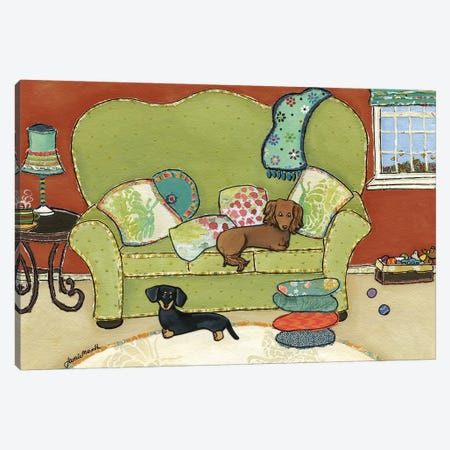 Dachshund Love Canvas Print #MRH28} by Jamie Morath Canvas Artwork