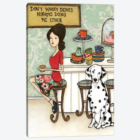 Dalmation And Dishes Canvas Print #MRH29} by Jamie Morath Canvas Wall Art