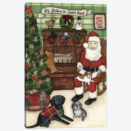Santa Paws Canvas Print #MRH307} by Jamie Morath Canvas Artwork