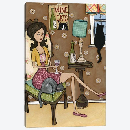 Wine For Cats Canvas Print #MRH317} by Jamie Morath Art Print
