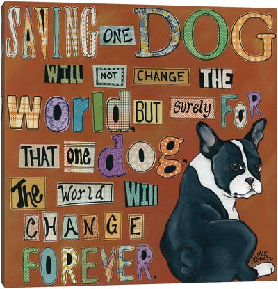 Dog World Forever Canvas Art Print