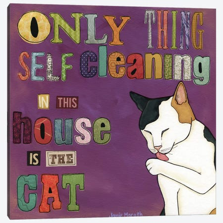 Self Cleaning Cat Canvas Print #MRH321} by Jamie Morath Canvas Art Print