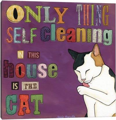 Self Cleaning Cat Canvas Art Print