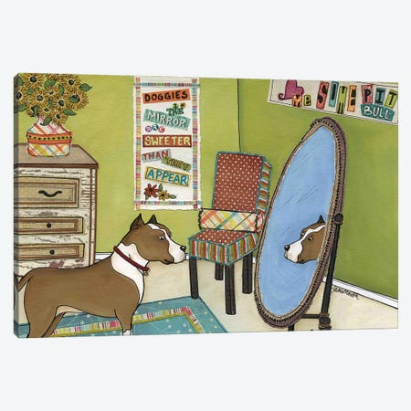 Doggies In The Mirror Canvas Print #MRH344} by Jamie Morath Canvas Art