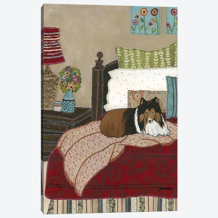 Snuggling With Sheltie Canvas Print #MRH364} by Jamie Morath Canvas Artwork