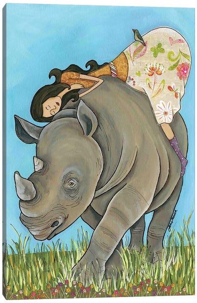 Lovin Me A Rhino Canvas Art Print