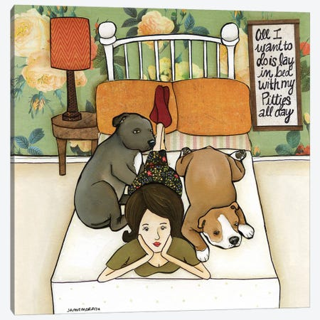 Pitties All Day Canvas Print #MRH419} by Jamie Morath Canvas Print