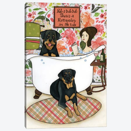 Rottweiler In The Tub Canvas Print #MRH434} by Jamie Morath Canvas Art