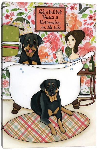 Rottweiler In The Tub Canvas Art Print