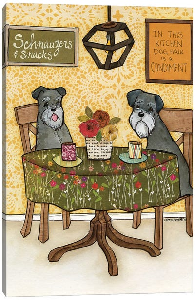 Schnauzers And Snacks Canvas Art Print