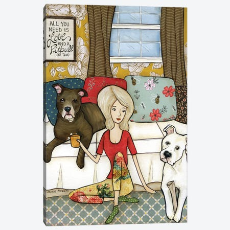 Love And A Pitbull Canvas Print #MRH488} by Jamie Morath Canvas Artwork
