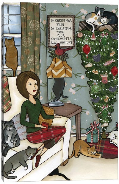 Oh Christmas Tree Cats Canvas Art Print