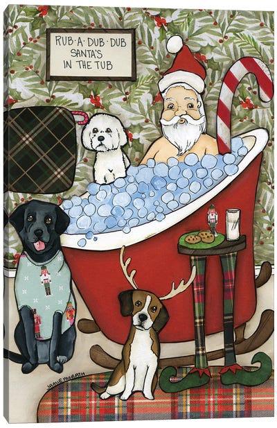 Santa's In The Tub Canvas Art Print