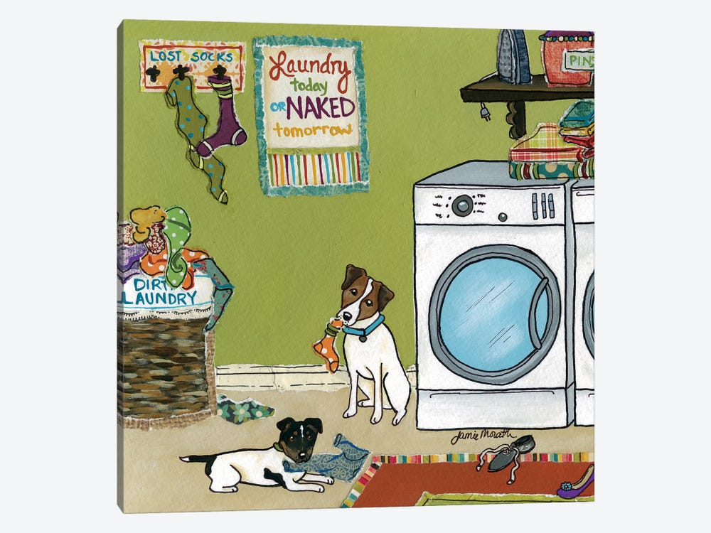 Jack Russell Trouble by Jamie Morath 1-piece Art Print