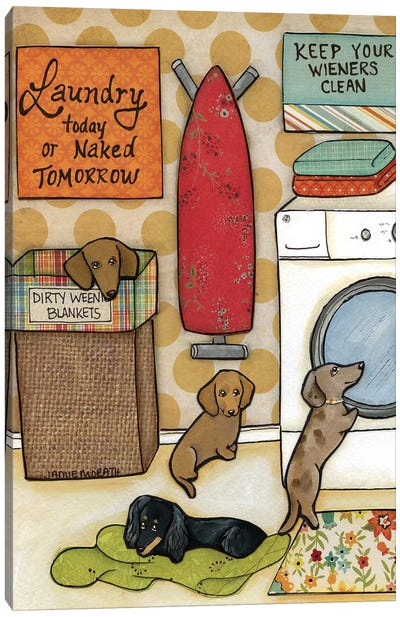 Keep Your Wieners Clean Canvas Art Print
