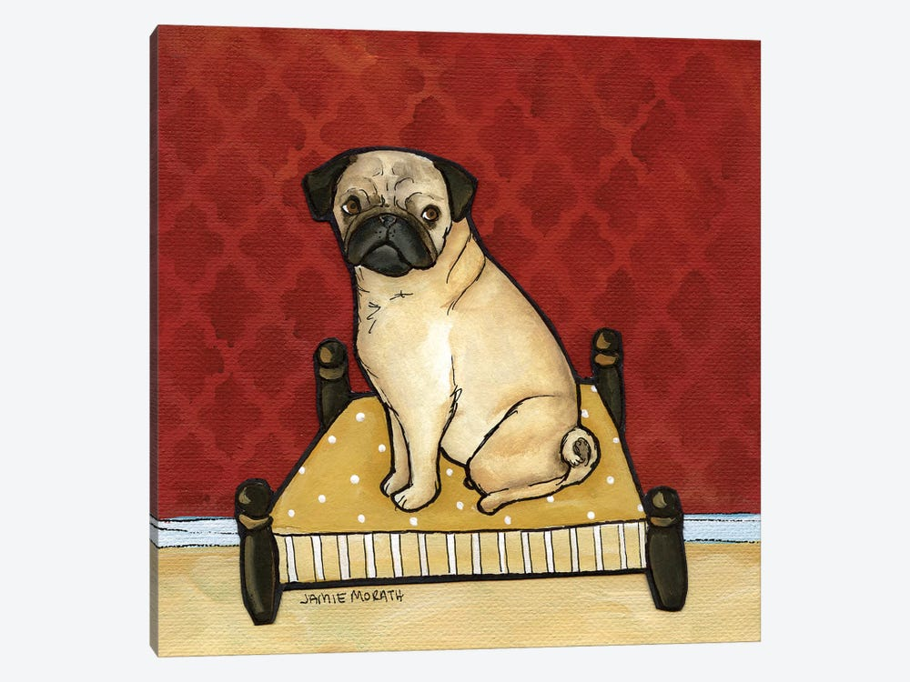 Lady Pug by Jamie Morath 1-piece Canvas Print