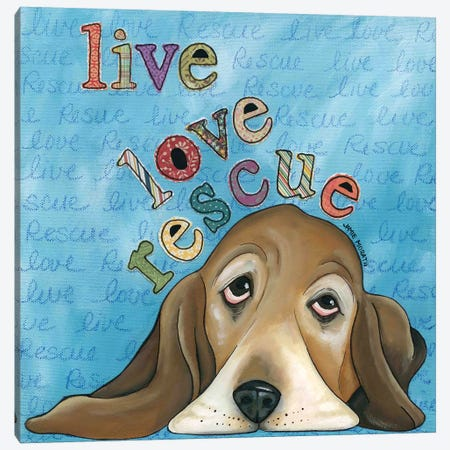 Live Love Rescue Basset Canvas Print #MRH61} by Jamie Morath Canvas Wall Art