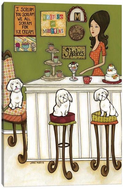 Maltese & Muffins Canvas Art Print
