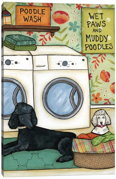 Poodle Wash Canvas Art Print