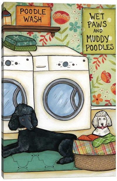 Poodle Wash Canvas Art Print