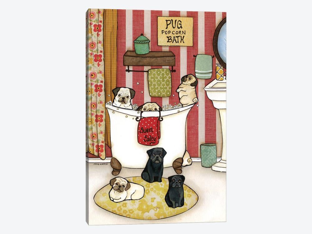 Pug Popcorn Bath by Jamie Morath 1-piece Canvas Print