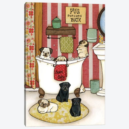 Pug Popcorn Bath Canvas Print #MRH76} by Jamie Morath Canvas Art
