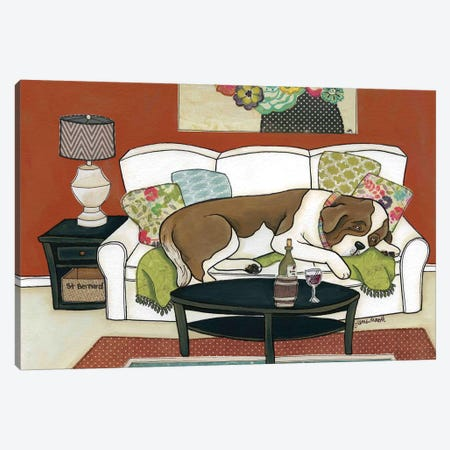Saint Bernard Couch Hog Canvas Print #MRH84} by Jamie Morath Art Print